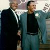 Hagler and Sugar Ray Leonard reunite in Canastota in 1997.