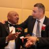 Hagler and Vitali Klitschko enjoy time together at the Hall of Fame.