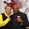 Julio Cesar Chavez and Hagler in fighting pose during the 2011 HOF Weekend