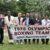 1976 US Olympic Boxing Team reunites in Canastota for 40th Anniversary in 2016  (l to r) Spinks, Michael Spinks, Chuck Walker, Sugar Ray Leonard, Charles Mooney, Leo Randolph and Louis Curtis.